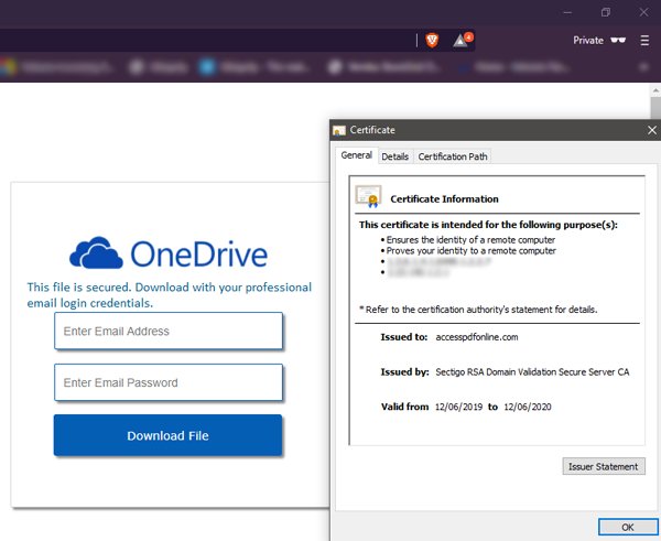 Microsoft OneDrive Phishing Email Scam