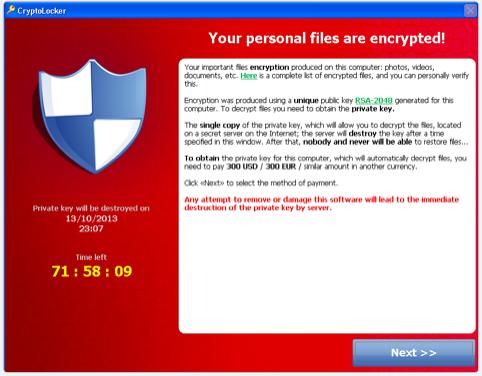 cryptolocker ransomware attack